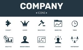 Company set icons collection. Includes simple elements such as Leader, Brainstorming, Partnership, Success and Analytics. Premium icons stock illustration