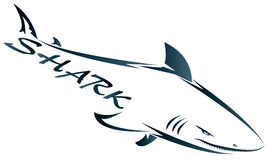 The company of the shark. Shark symbol isolated on white for design - also as emblem or logo Royalty Free Stock Photos
