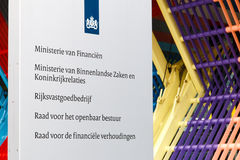 Company sign at the Dutch Ministry of Finance, Ministry of Inter Stock Photography