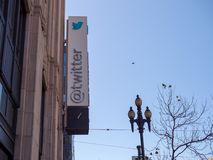Company sign/logo outside Twitter headquarters in the Tenderloin. SAN FRANCISCO, CA - April 2, 2018: Company sign/logo outside Twitter headquarters in the stock image