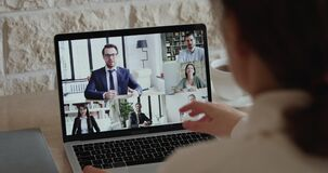 Company staff colleagues and boss virtual conferencing by web cam