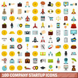 100 company startup icons set, flat style. 100 company startup icons set in flat style for any design vector illustration Stock Images