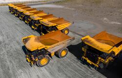 Free Company Strike And Bankruptcy Mining Industry. Parking With Big Yellow Truck For Coal, Iron Ore And Gold. Aerial Top Royalty Free Stock Photography - 211230677