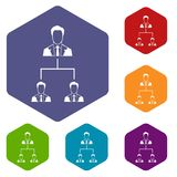 Company structure icons set. Rhombus in different colors isolated on white background Royalty Free Stock Photo