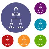 Company structure icons set. In flat circle reb, blue and green color for web Royalty Free Stock Photos