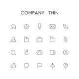 Company thin icon set. Home, pinion, pencil, file, phone, chat, mail, folder, briefcase, paper clip and others simple vector symbols. Business and contacts Stock Photo