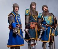 Company of three knights royalty free stock photography