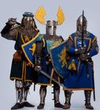 Company of three knights royalty free stock photos