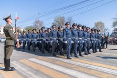 Company of traffic police officers march on parade Stock Photo