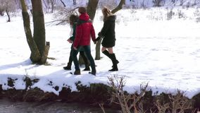 The company walks by the river in the winter. admiring the nature stock video footage