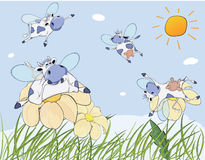 Cheerful cows cartoon Royalty Free Stock Images