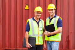 Company workers containers Stock Image