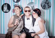 Company of young hipsters have fun house leisure Royalty Free Stock Photo