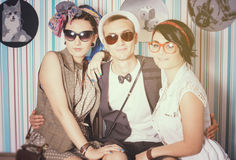 Company of young hipsters have fun house leisure Stock Images