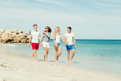 Company of young people on the beach Stock Images