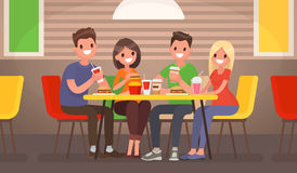 Company of young people is eating at a fast food cafe. Vector il. Lustration in a flat style Vector Illustration
