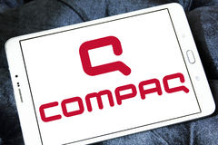 Compaq logo. Logo of computer company compaq on samsung tablet stock images
