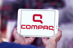 Compaq logo. Logo of computer company Compaq on samsung tablet Royalty Free Stock Photography