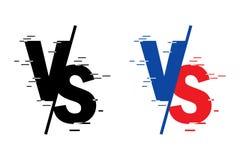 Compar? ? l'?cran Combat sur des fonds les uns contre les autres, rouge contre le bleu Les lettres noires donnent à la forme une  illustration de vecteur