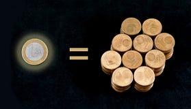 Comparação de uma moeda do Euro e de cem moedas de um-centavo Imagens de Stock Royalty Free