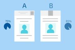 Comparação do A-B Testes rachados Vetor do computador do conceito Fotos de Stock