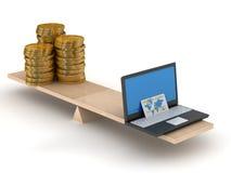 Comparação do comércio electrónico e do dinheiro. ilustração stock