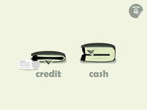 Comparação do dinheiro da carteira entre pagar o crédito e pagar o dinheiro Foto de Stock