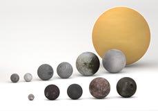 Comparação do tamanho entre luas de Saturn e do Urano Fotos de Stock