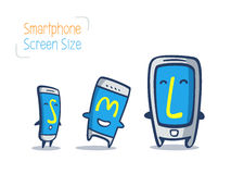 Comparação esperta do tamanho dos desenhos animados do telefone Fotos de Stock