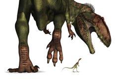 Comparación de la talla del dinosaurio - enorme a minúsculo Foto de archivo