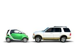 Comparación de los coches Foto de archivo