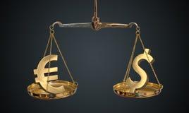 Comparación del euro y del dólar Símbolos de oro del euro y del dólar en escalas Imagen de archivo