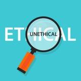 Comparación poco ética ética del concepto para el comportamiento moral stock de ilustración