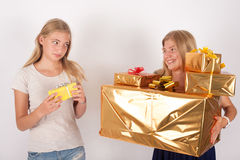 Comparaison de cadeau Images stock