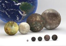 Comparaison de taille entre les lunes d'Uranus et de Jupiter Image stock