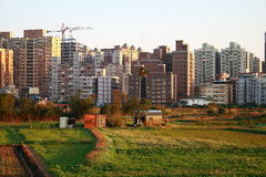 Comparando edifícios entre a cidade e o país? Foto de Stock Royalty Free
