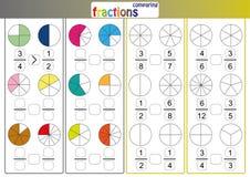 comparando fracciones, el uso menos que o más que muestra compara las fracciones, hoja de trabajo de la matemáticas stock de ilustración