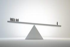 Comparative advantage concept. Single man outweighing a small group - comparative advantage concept illustration Stock Photo