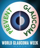 Healthy and Sick Eye Promoting Prevention in World Glaucoma Week, Vector Illustration. Comparative design of a healthy and sick eye with liquid accumulation and Royalty Free Stock Images