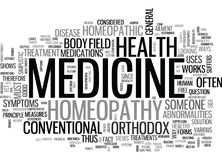 A Comparative Look Between Orthodox And Homeopathic Medicine Word Cloud Stock Photos