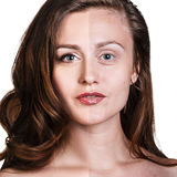 Comparative portrait of beautiful woman face Royalty Free Stock Image
