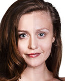 Comparative portrait of beautiful woman face Royalty Free Stock Photography