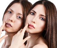 Comparative portrait of beautiful woman face Stock Images