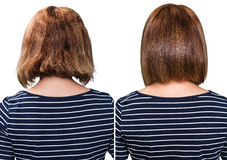 Comparative portrait of damaged hair Royalty Free Stock Photography