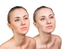 Comparative portrait of female face Royalty Free Stock Photography