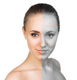 Comparative portrait of female face Stock Images