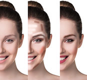 Comparative portrait of female face Stock Photography