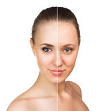 Comparative portrait of female face Royalty Free Stock Image