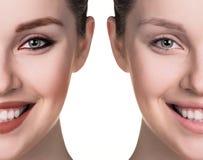 Comparative portrait of female face Stock Photo