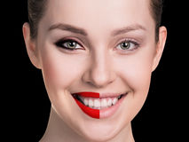 Comparative portrait of female face Royalty Free Stock Photos